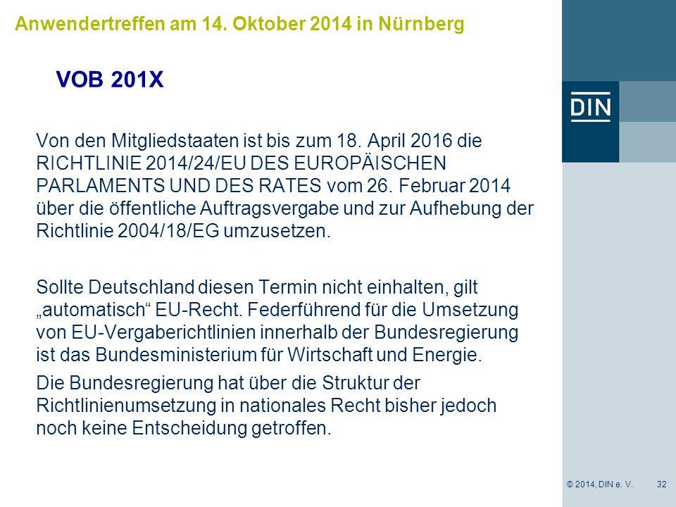 VOB 201X Anwendertreffen am 14. Oktober 2014 in Nürnberg