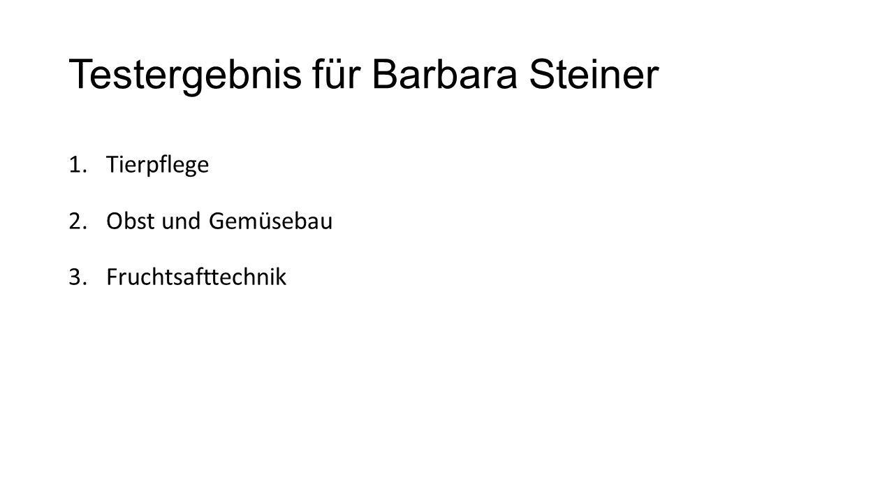 Testergebnis für Barbara Steiner