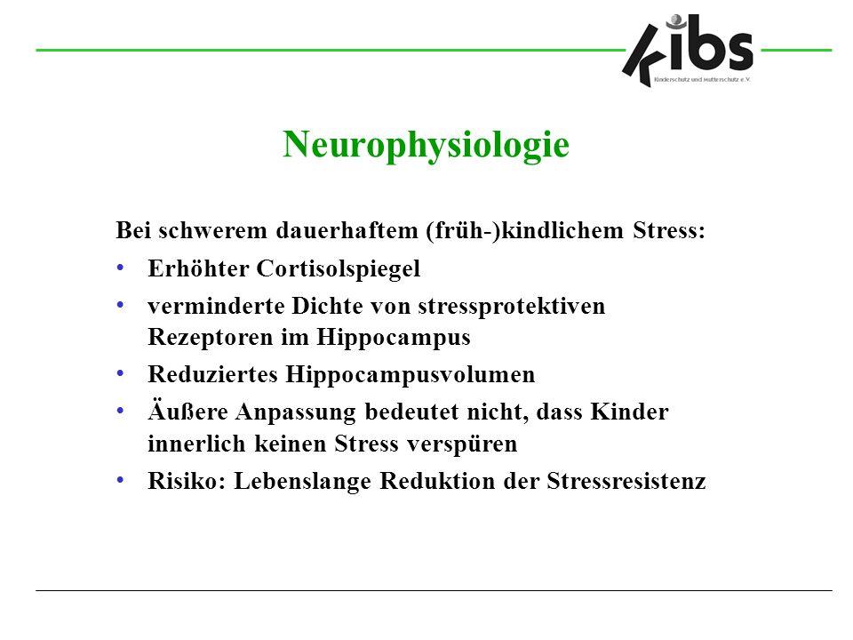 Neurophysiologie Bei schwerem dauerhaftem (früh-)kindlichem Stress: