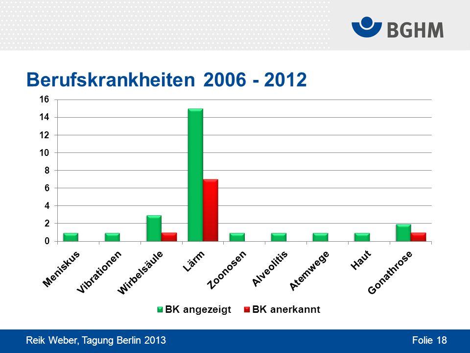 Berufskrankheiten 2006 - 2012 Reik Weber, Tagung Berlin 2013