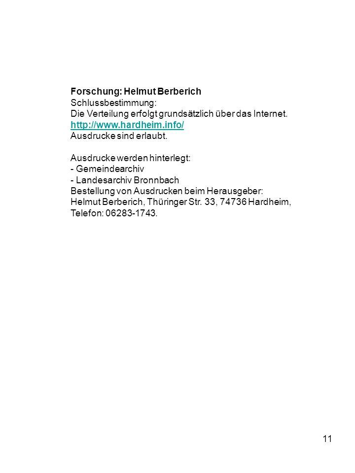 Forschung: Helmut Berberich Schlussbestimmung: Die Verteilung erfolgt grundsätzlich über das Internet.