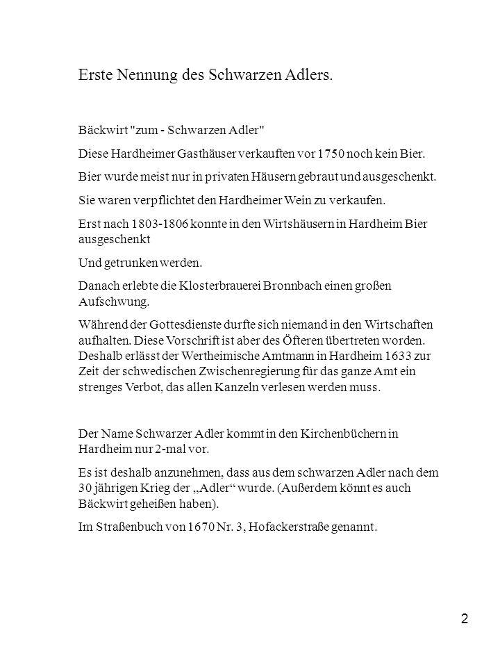 Erste Nennung des Schwarzen Adlers.