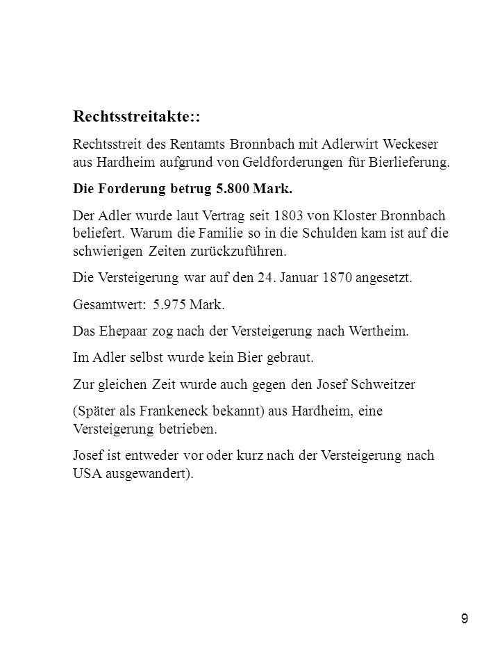 Rechtsstreitakte:: Rechtsstreit des Rentamts Bronnbach mit Adlerwirt Weckeser aus Hardheim aufgrund von Geldforderungen für Bierlieferung.