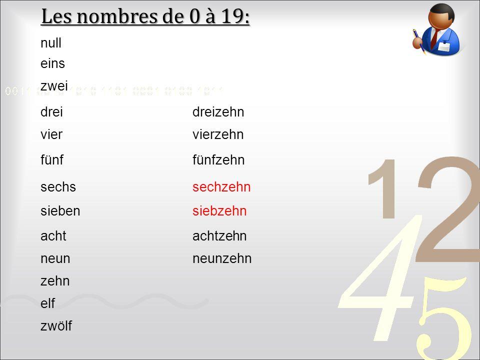 Les nombres de 0 à 19: null eins zwei drei dreizehn vier vierzehn fünf