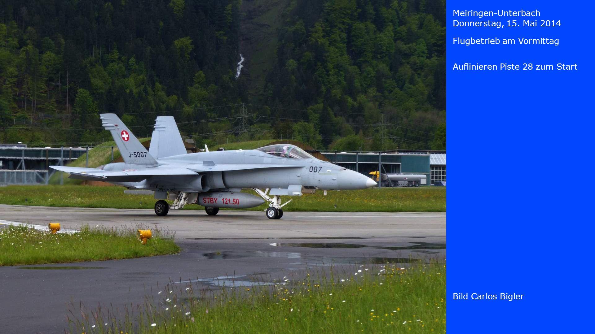 Meiringen-Unterbach Donnerstag, 15. Mai 2014. Flugbetrieb am Vormittag. Auflinieren Piste 28 zum Start.