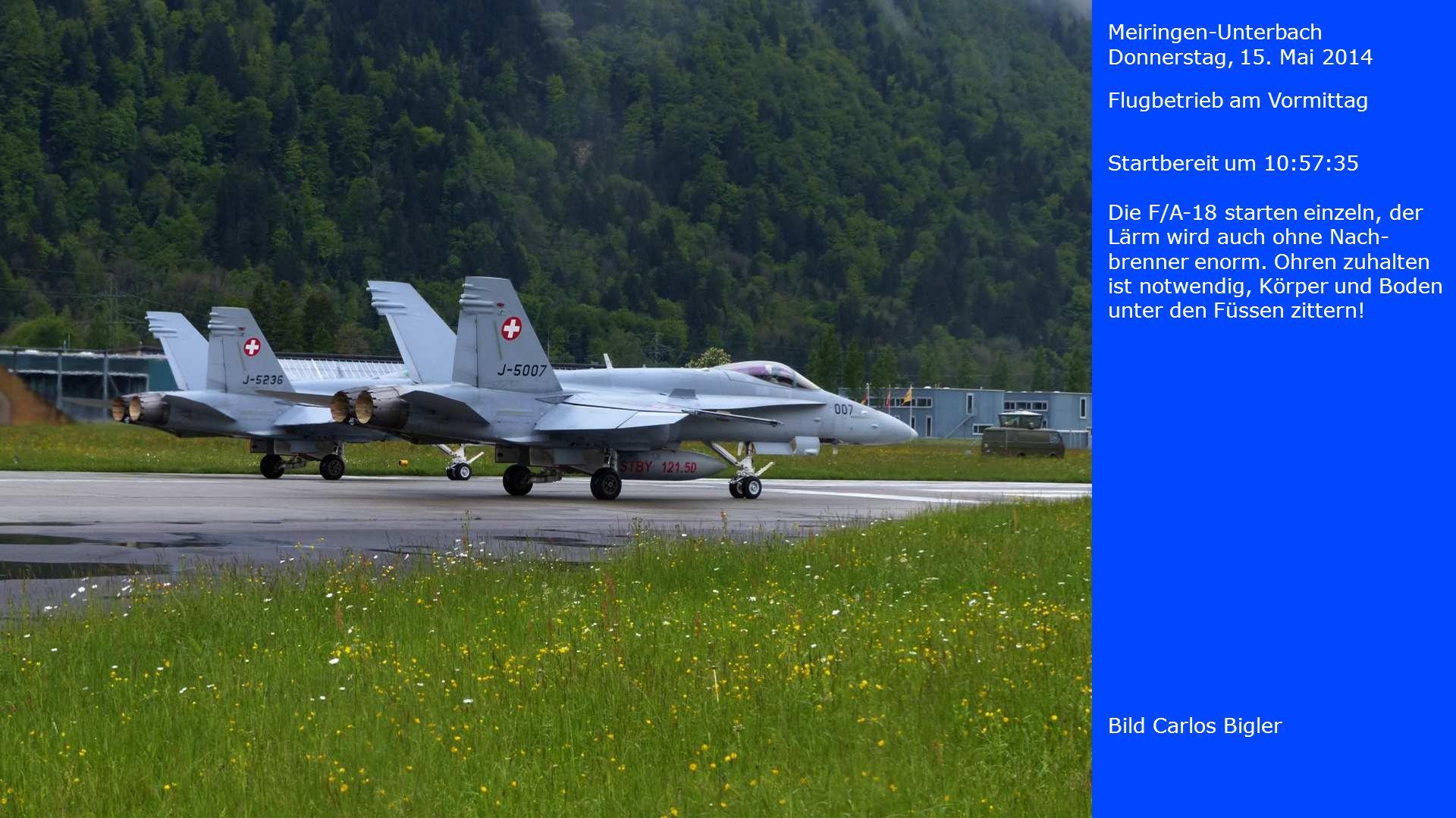 Meiringen-Unterbach Donnerstag, 15. Mai 2014. Flugbetrieb am Vormittag. Startbereit um 10:57:35.