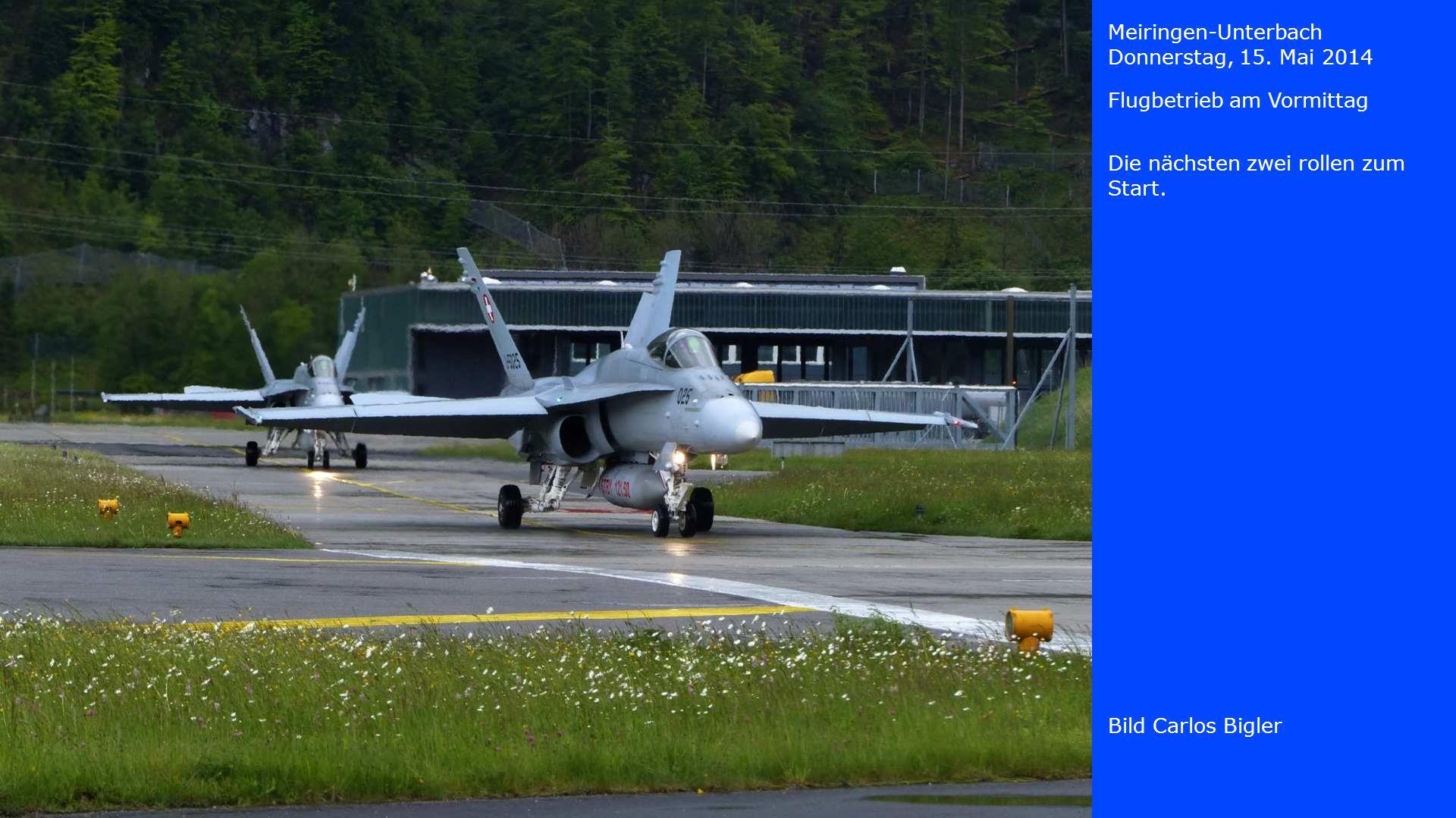 Meiringen-Unterbach Donnerstag, 15. Mai 2014. Flugbetrieb am Vormittag. Die nächsten zwei rollen zum Start.