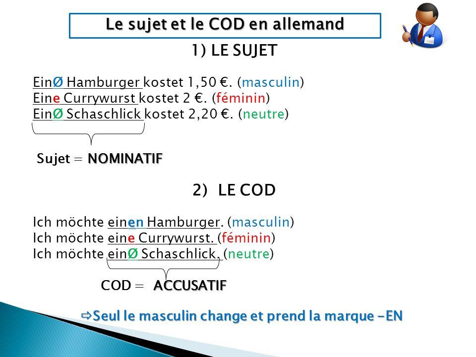 Le sujet et le COD en allemand