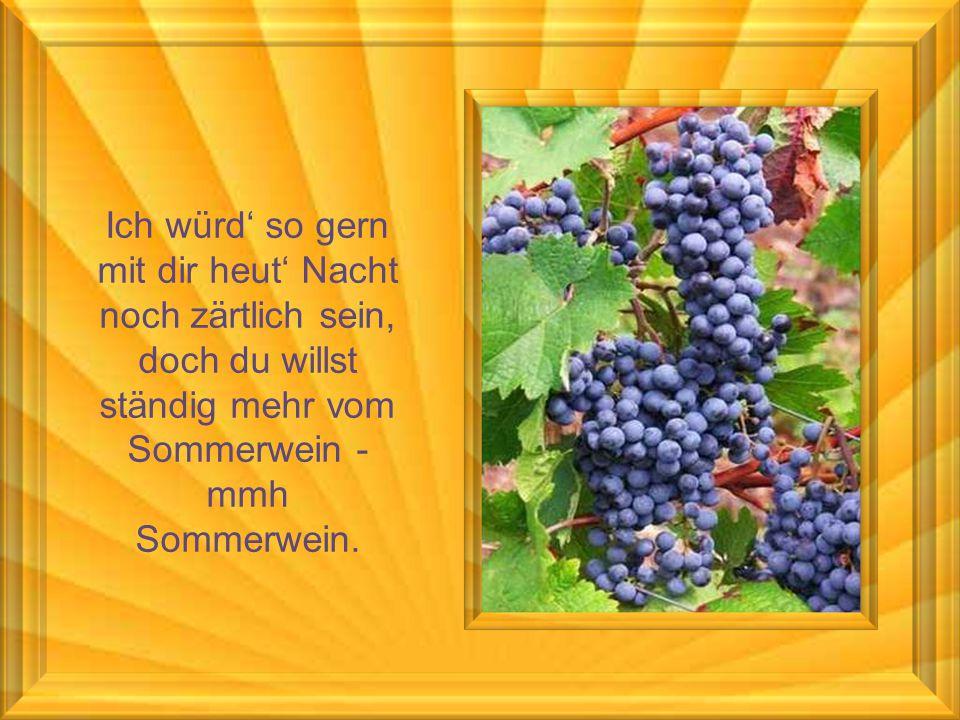 Ich würd' so gern mit dir heut' Nacht noch zärtlich sein, doch du willst ständig mehr vom Sommerwein - mmh Sommerwein.