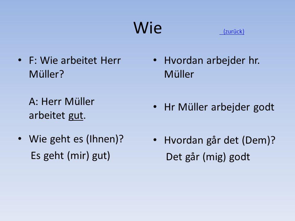 Wie (zurück) F: Wie arbeitet Herr Müller A: Herr Müller arbeitet gut.
