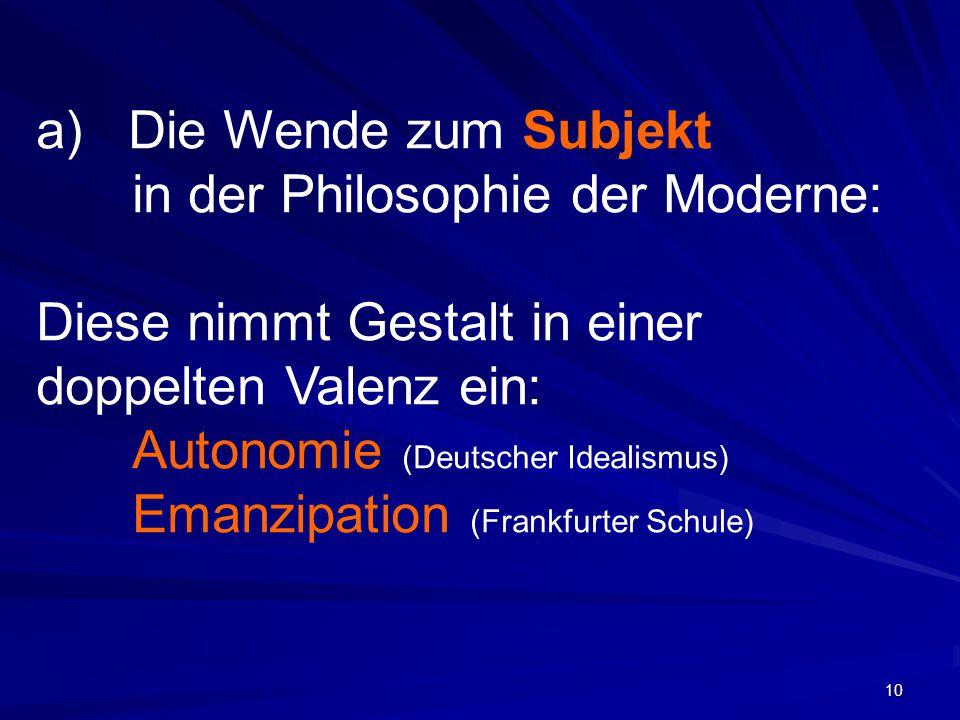 Die Wende zum Subjekt in der Philosophie der Moderne: Diese nimmt Gestalt in einer doppelten Valenz ein: