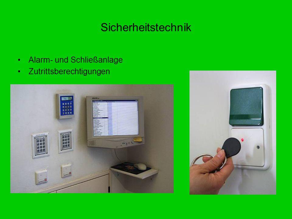 Sicherheitstechnik Alarm- und Schließanlage Zutrittsberechtigungen