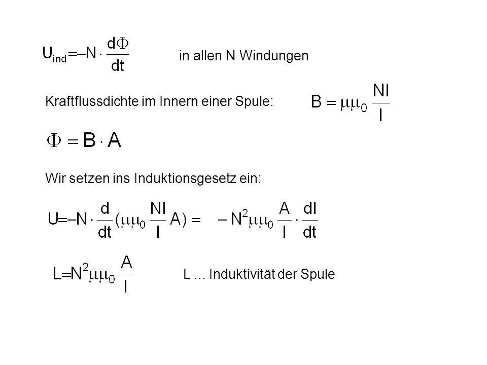 in allen N Windungen Kraftflussdichte im Innern einer Spule: Wir setzen ins Induktionsgesetz ein: L ...