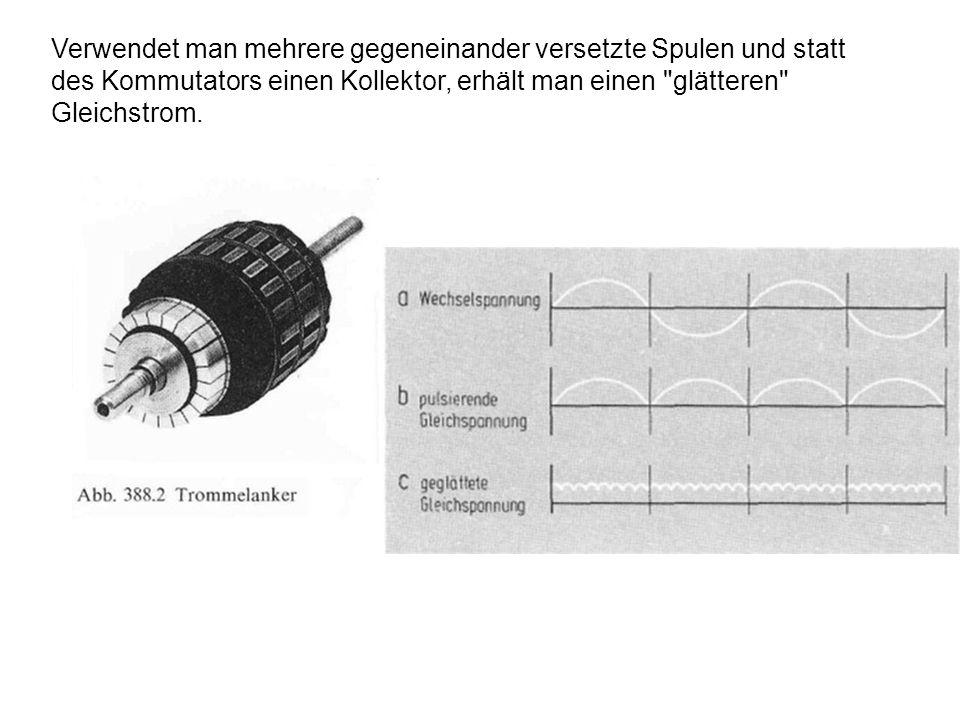 Verwendet man mehrere gegeneinander versetzte Spulen und statt des Kommutators einen Kollektor, erhält man einen glätteren Gleichstrom.