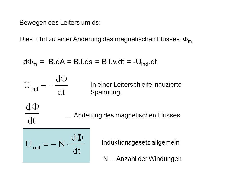 dm = B.dA = B.l.ds = B l.v.dt = -Uind.dt