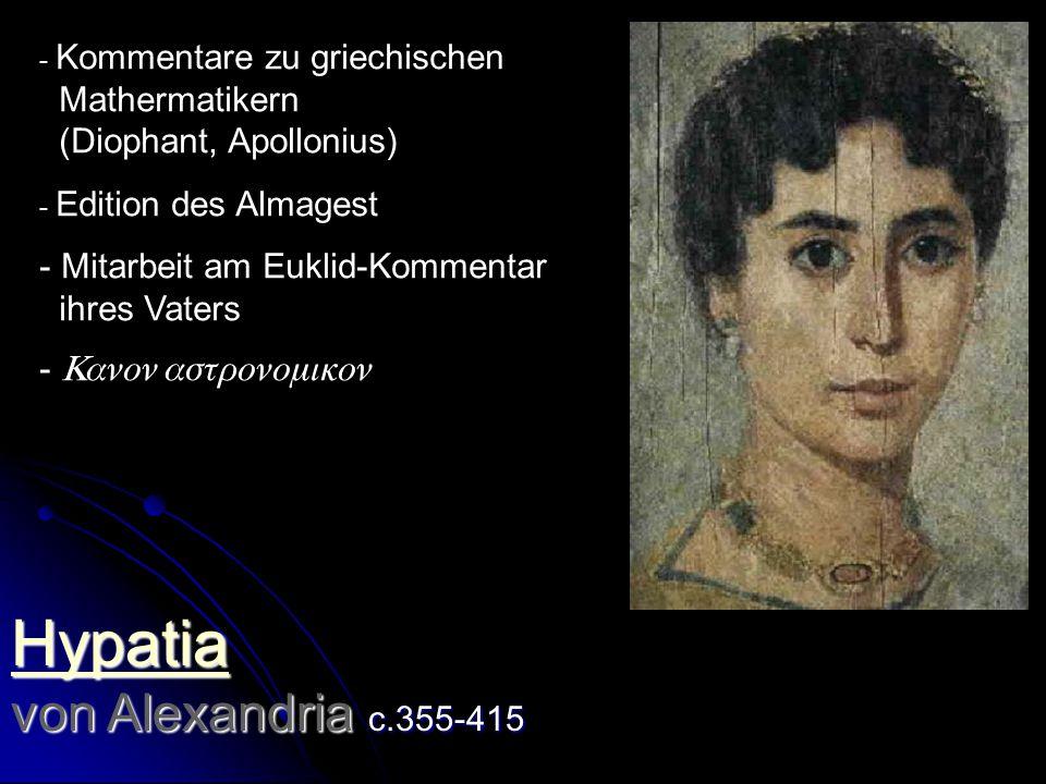 Hypatia von Alexandria c.355-415