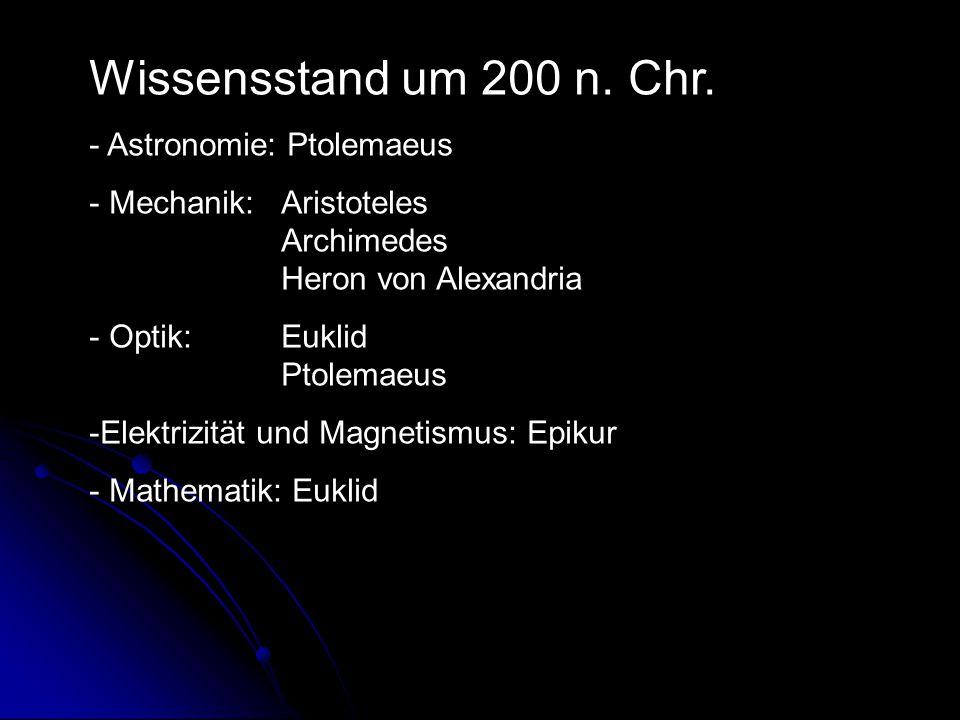 Wissensstand um 200 n. Chr. Astronomie: Ptolemaeus