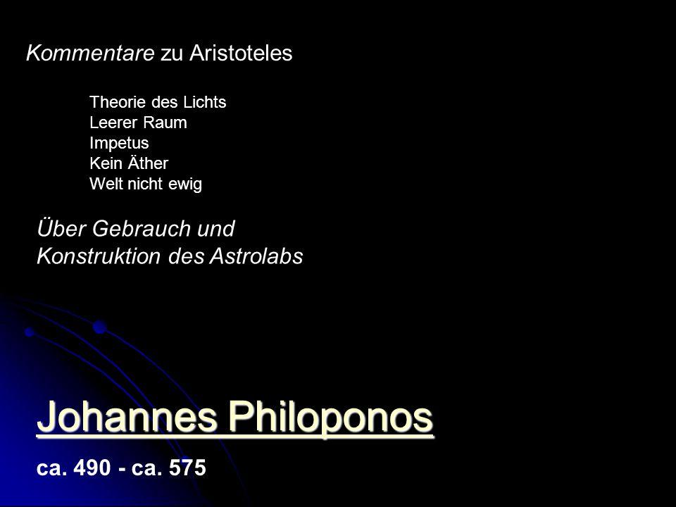 Johannes Philoponos Kommentare zu Aristoteles