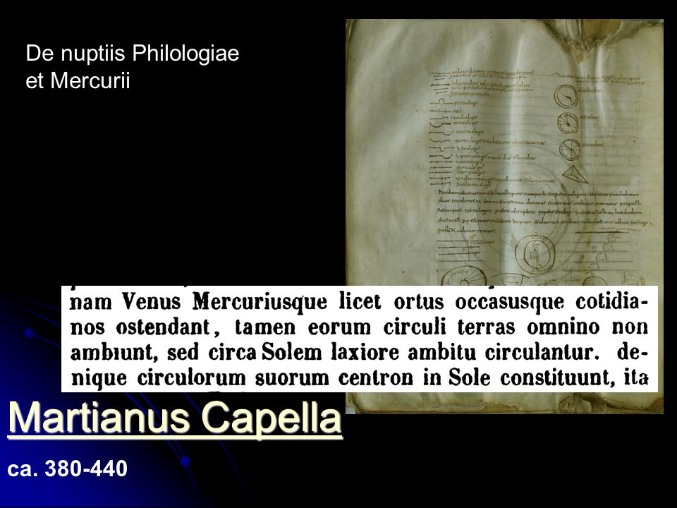 Martianus Capella De nuptiis Philologiae et Mercurii ca. 380-440