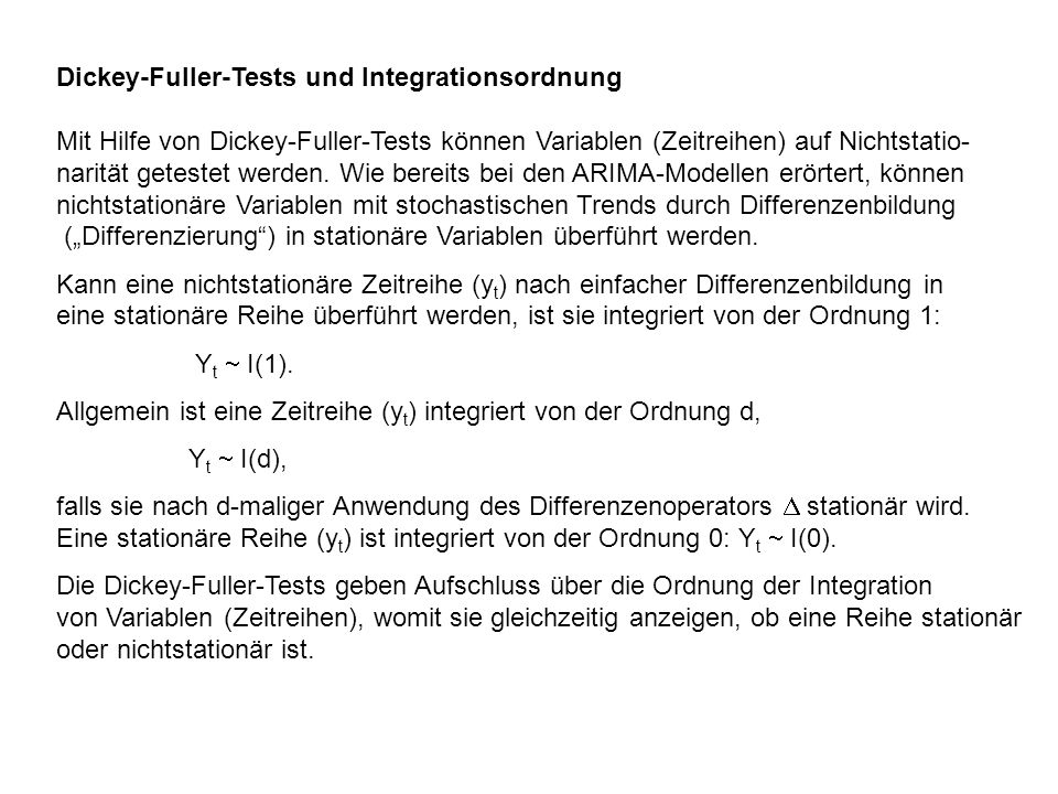 Dickey-Fuller-Tests und Integrationsordnung