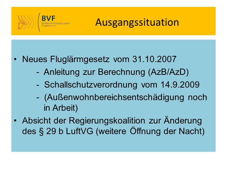 Ausgangssituation Neues Fluglärmgesetz vom 31.10.2007