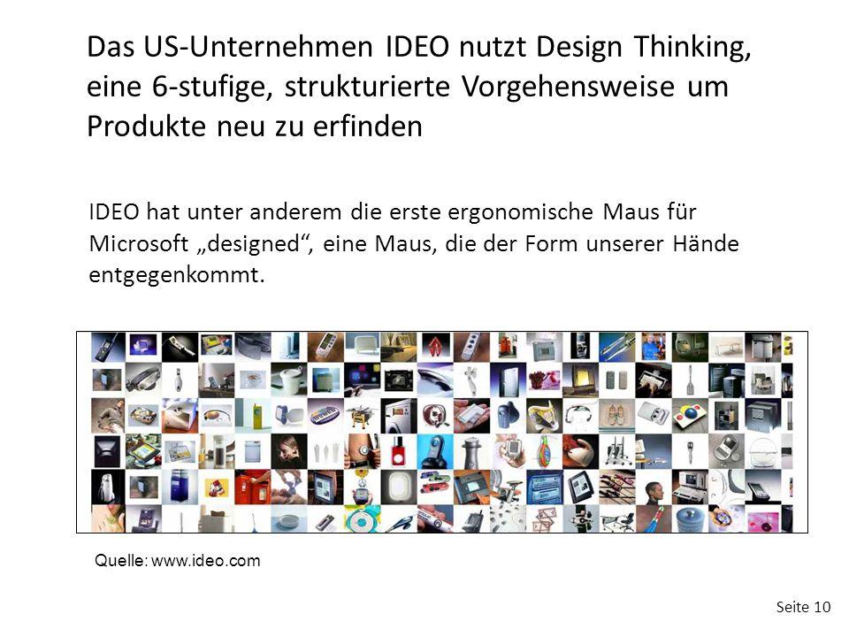 Das US-Unternehmen IDEO nutzt Design Thinking, eine 6-stufige, strukturierte Vorgehensweise um Produkte neu zu erfinden