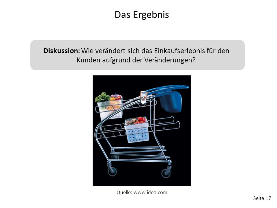 Das Ergebnis Diskussion: Wie verändert sich das Einkaufserlebnis für den Kunden aufgrund der Veränderungen