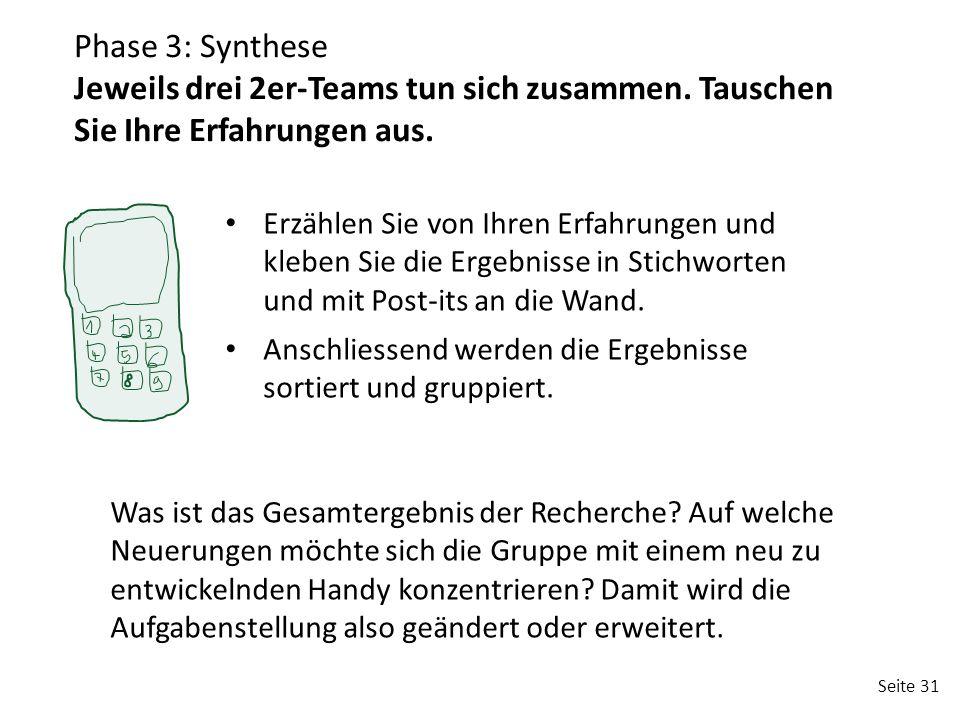 Phase 3: Synthese Jeweils drei 2er-Teams tun sich zusammen