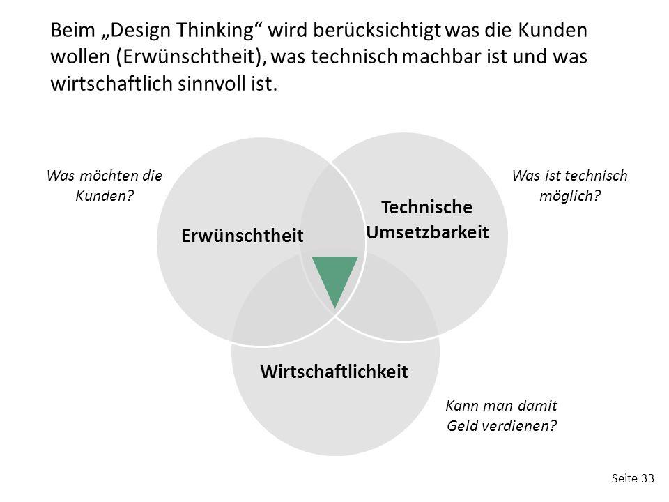 """Beim """"Design Thinking wird berücksichtigt was die Kunden wollen (Erwünschtheit), was technisch machbar ist und was wirtschaftlich sinnvoll ist."""