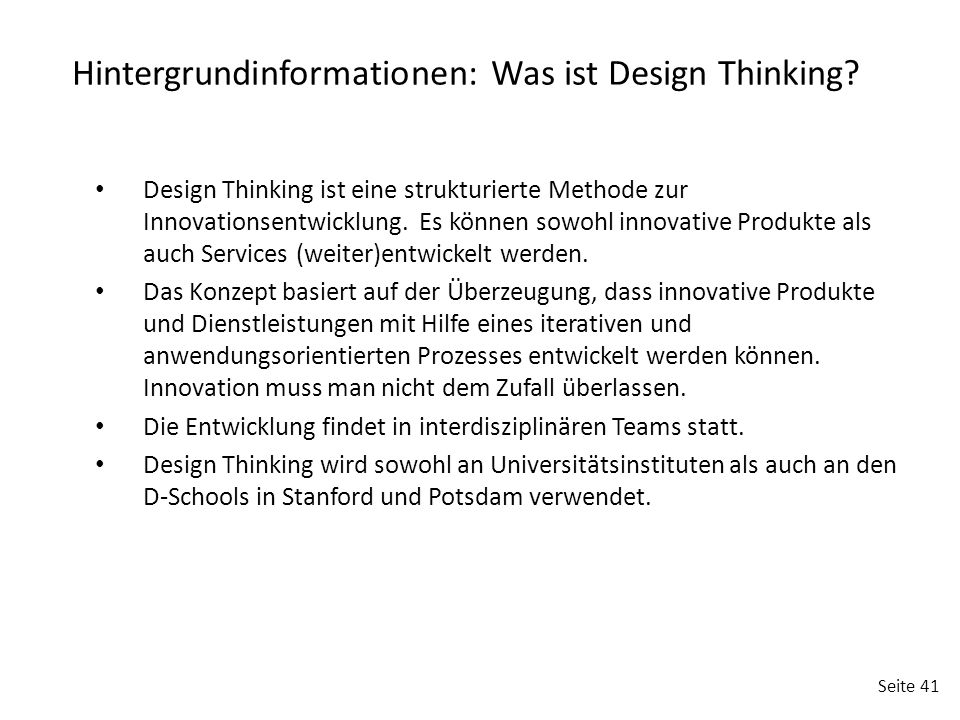 Hintergrundinformationen: Was ist Design Thinking