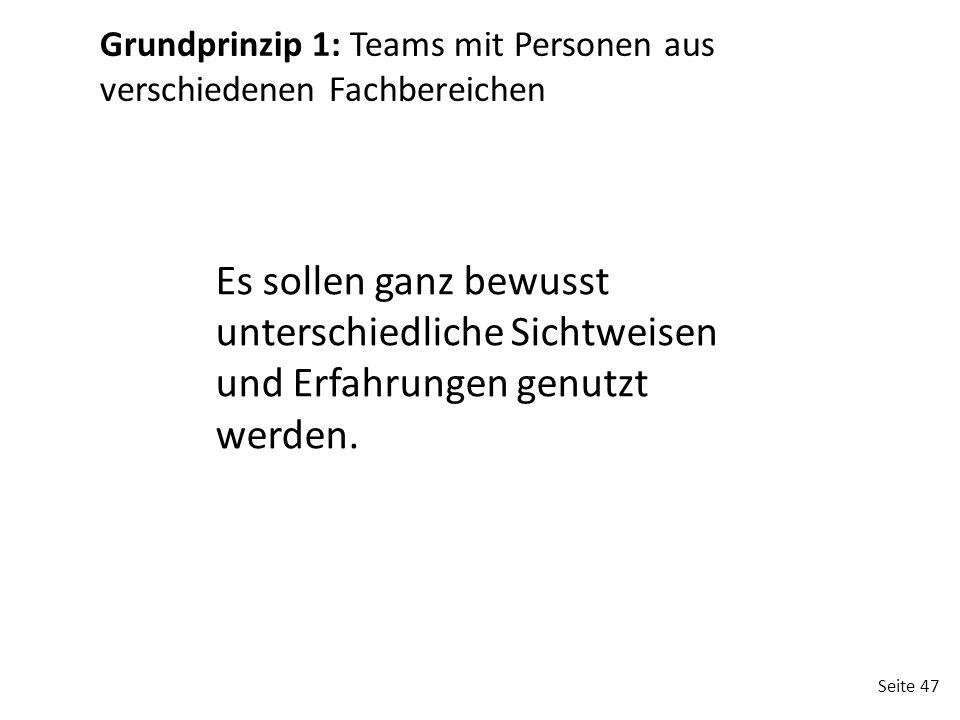 Grundprinzip 1: Teams mit Personen aus verschiedenen Fachbereichen
