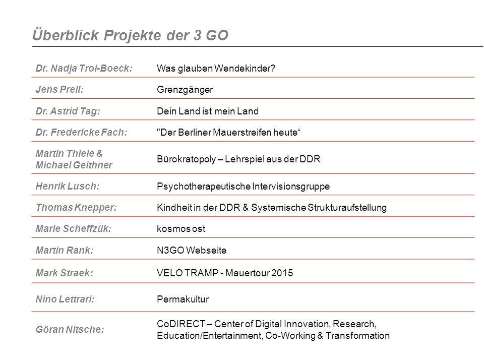 Überblick Projekte der 3 GO