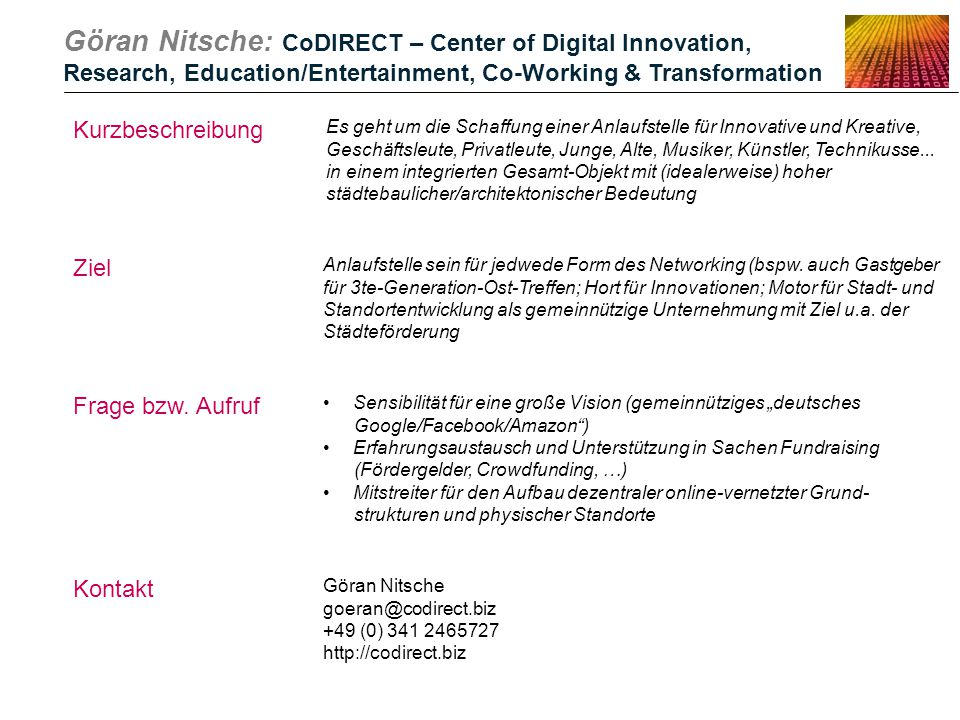 Göran Nitsche: CoDIRECT – Center of Digital Innovation,