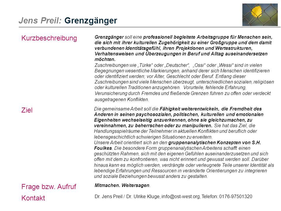 Jens Preil: Grenzgänger