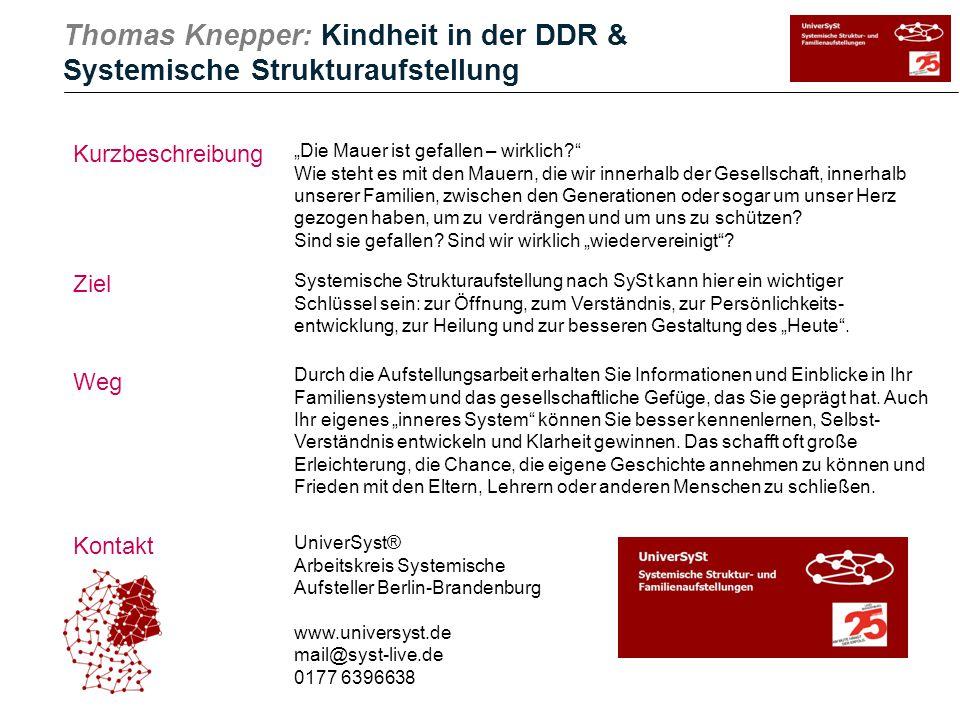 Thomas Knepper: Kindheit in der DDR & Systemische Strukturaufstellung