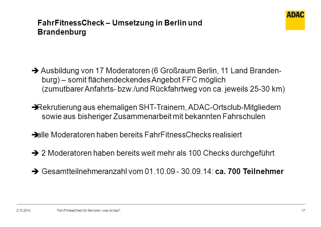 FahrFitnessCheck – Umsetzung in Berlin und Brandenburg