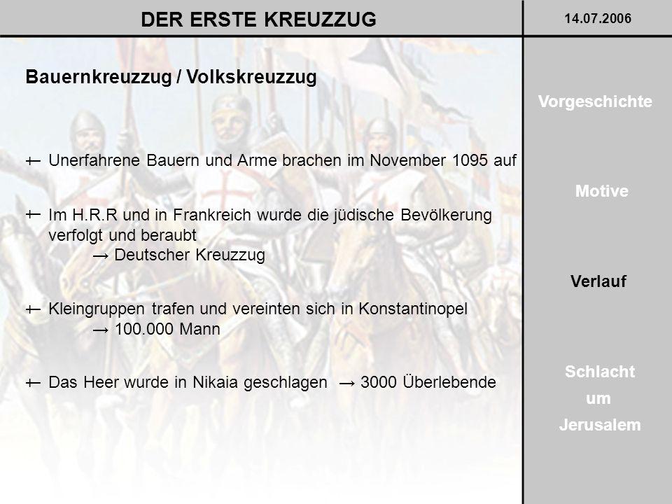 DER ERSTE KREUZZUG Bauernkreuzzug / Volkskreuzzug Vorgeschichte †