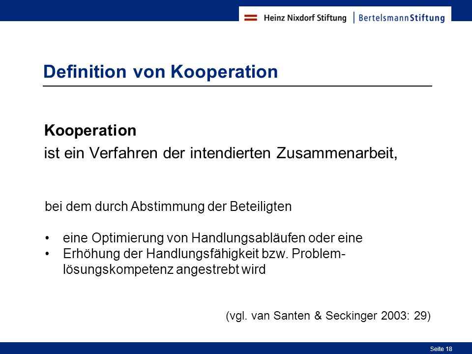 Definition von Kooperation