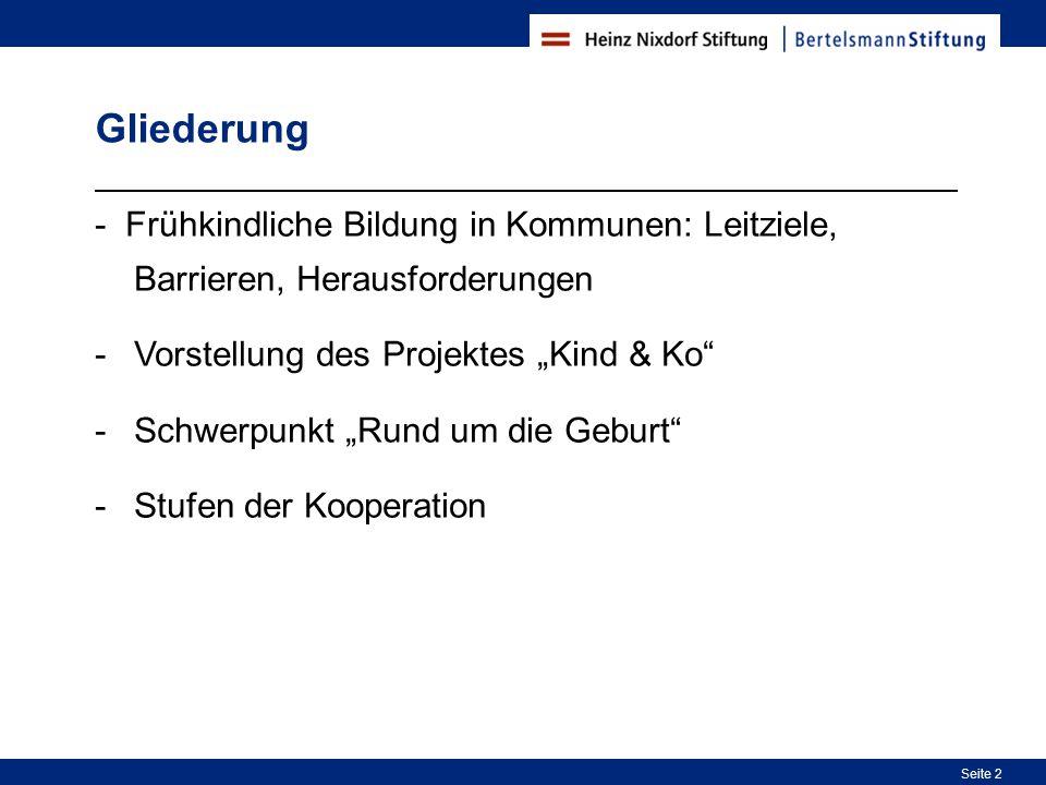 """Gliederung - Frühkindliche Bildung in Kommunen: Leitziele, Barrieren, Herausforderungen. Vorstellung des Projektes """"Kind & Ko"""
