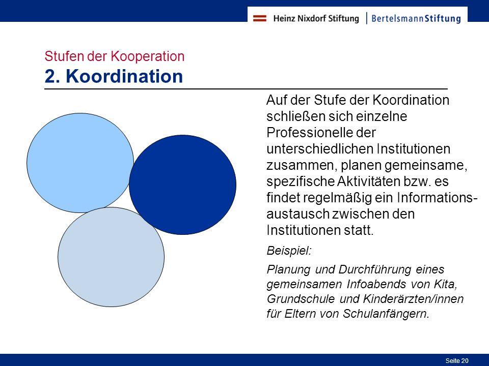 Stufen der Kooperation 2. Koordination