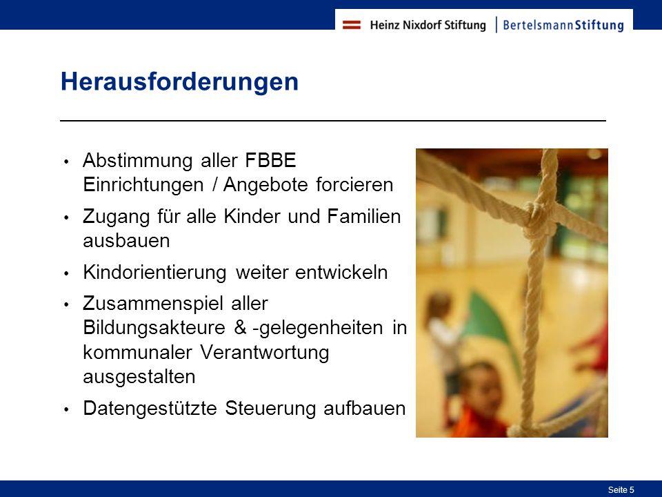 Herausforderungen Abstimmung aller FBBE Einrichtungen / Angebote forcieren. Zugang für alle Kinder und Familien ausbauen.