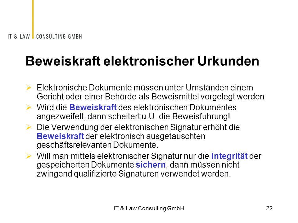 Beweiskraft elektronischer Urkunden