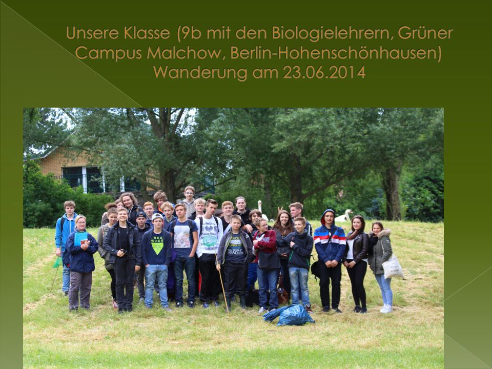 Unsere Klasse (9b mit den Biologielehrern, Grüner Campus Malchow, Berlin-Hohenschönhausen) Wanderung am 23.06.2014