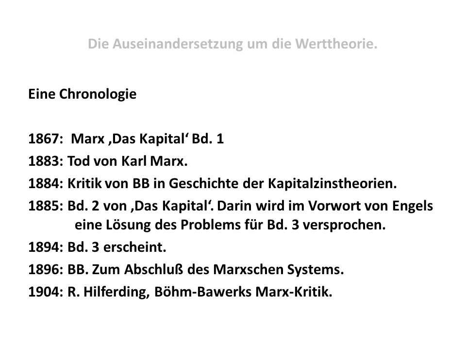 Die Auseinandersetzung um die Werttheorie.