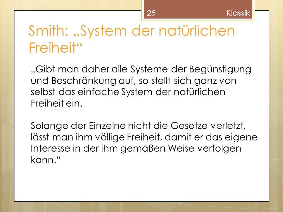 """Smith: """"System der natürlichen Freiheit"""