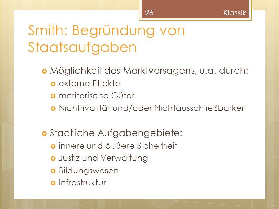 Smith: Begründung von Staatsaufgaben