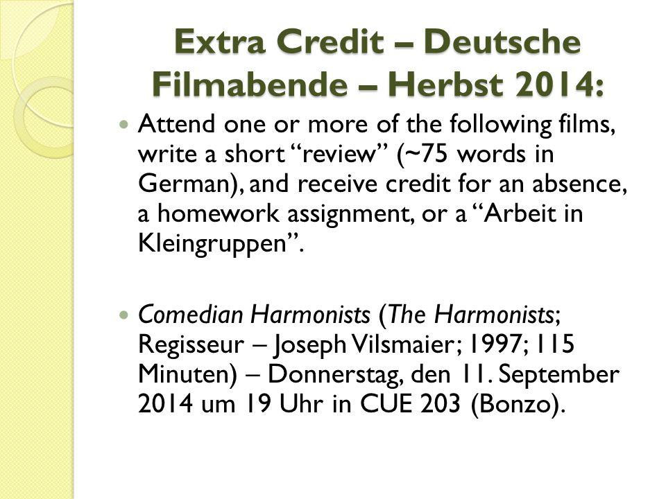 Extra Credit – Deutsche Filmabende – Herbst 2014: