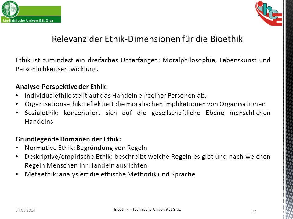 Relevanz der Ethik-Dimensionen für die Bioethik