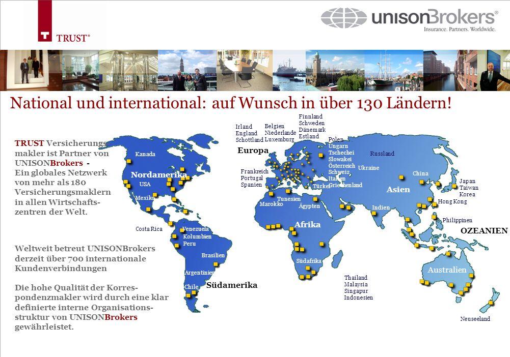 National und international: auf Wunsch in über 130 Ländern!