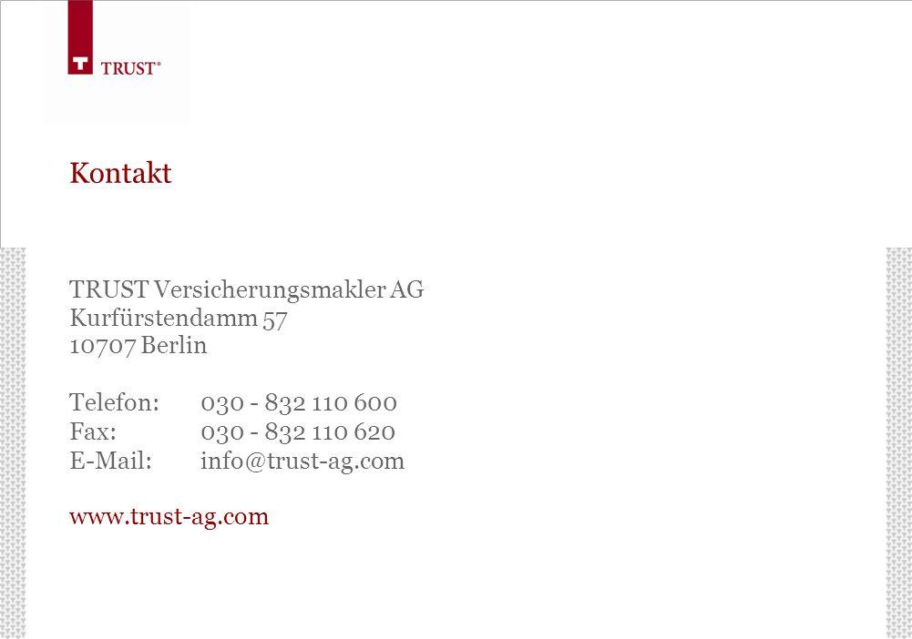 Kontakt TRUST Versicherungsmakler AG Kurfürstendamm 57 10707 Berlin